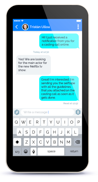 Vibuk offers the chat service, so you can connect with the talent that interests you. The talent can receive private messages, and calls through the castings.